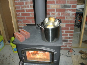 Double boiler on wood stove